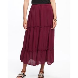 Dresses & Skirts - ✂️Tiered Maxi Skirt In Burgundy